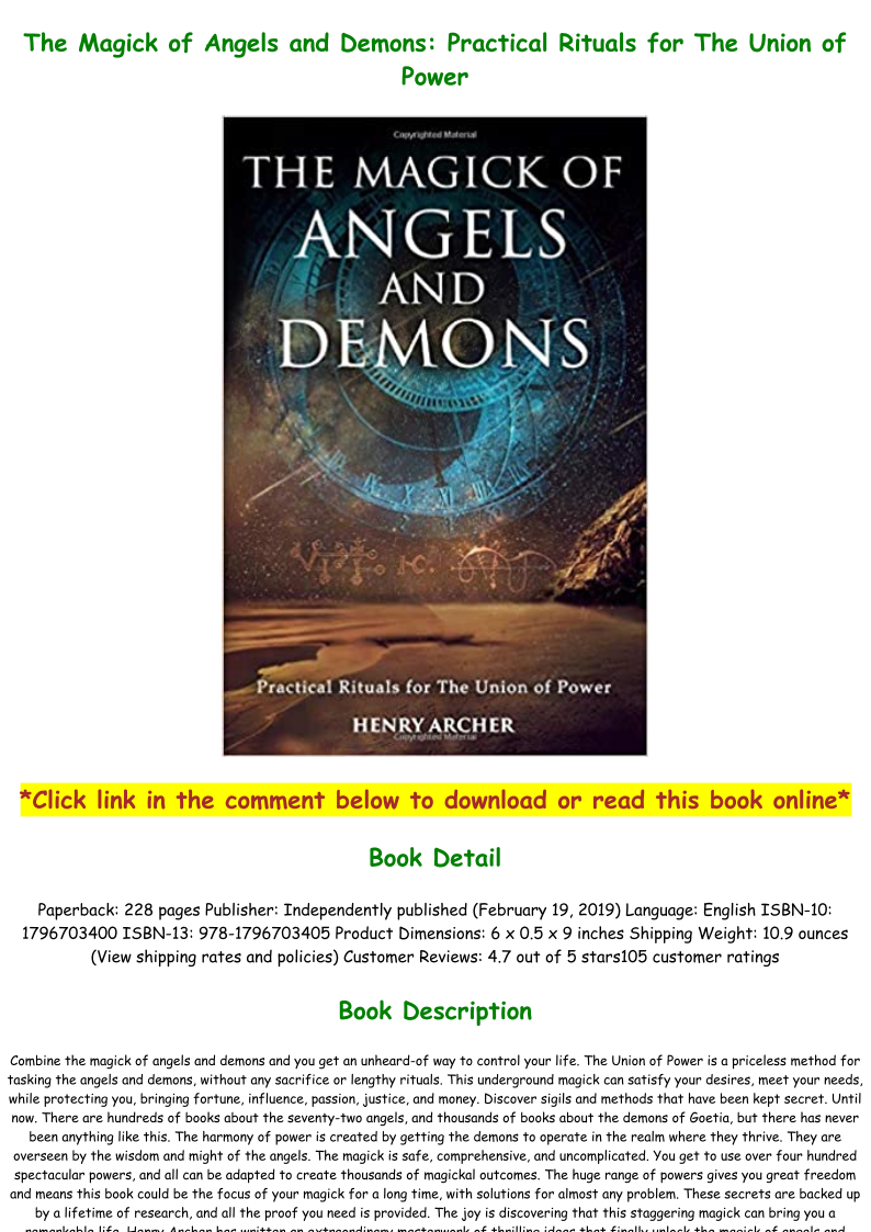 PDF Online The Magick of Angels and Demons Practical Rituals for ...